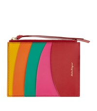 Salvatore Ferragamo Rainbow Leather Zip Wallet Female Pink Mandarin Green