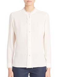 Escada Long Sleeve Silk Blouse Off White