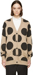 Each X Other Beige And Black Polka Dot Cardigan