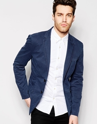 United Colors Of Benetton Blazer With All Over Print In Slim Fit Navy901