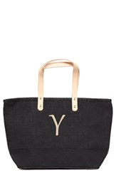Cathy's Concepts 'Nantucket' Personalized Jute Tote Grey Black Y