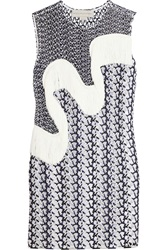 Stella Mccartney Agatha Fringed Wicker Lace Mini Dress Blue
