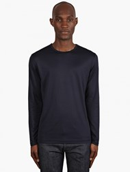 Sunspel Navy Long Sleeve Crew Neck T Shirt