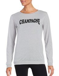 Betsey Johnson Champagne Graphic Jersey Knit Long Sleeve T Shirt Grey