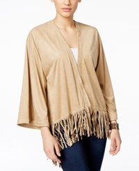 G.H. Bass And Co. Faux Suede Fringe Kimono Jacket Warm Beige