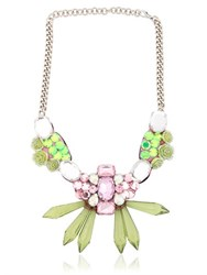 Ortys Floral And Crystals Wire Frame Necklace