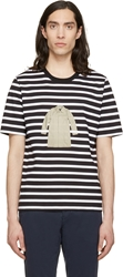 Band Of Outsiders Black And White Striped Coat T Shirt