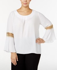 Ny Collection Plus Size Lace Trim Blouse Bright White