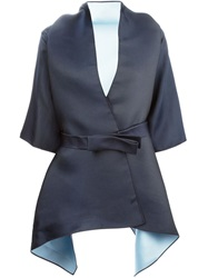 Dice Kayek Asymmetric Belted Jacket Blue