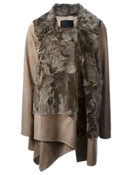 Liska 'Galliana' Lamb Fur Panelled Coat Nude And Neutrals