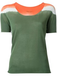 Roberto Collina Tri Tone Shortsleeved Knit T Shirt Green