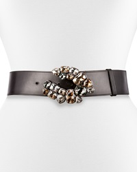 Lanvin Rhinestone Buckle Leather Belt