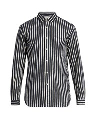 Tomorrowland Long Sleeved Striped Cotton Flannel Shirt Navy Stripe