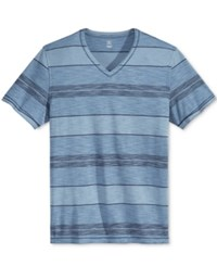 Inc International Concepts Men's Yes Stripe V Neck T Shirt Only At Macy's Navy