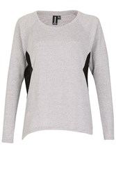 Izabel London Sheer Side Panel Jersey Top Grey