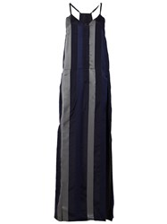 Ilaria Nistri Striped Long Slip Dress Black