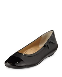 Neiman Marcus Shain Leather Cap Toe Bow Flat Black Blac