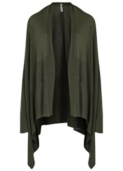 Rick Owens Olive Draped Wool Cardigan Dark Green