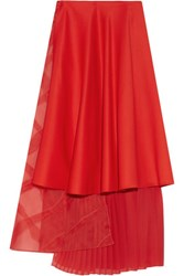 Vionnet Silk Organza And Pleated Chiffon Paneled Wool Midi Skirt Red