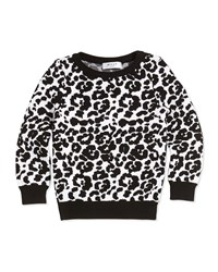 Milly Minis Cheetah Jacquard Pullover Sweater Black White