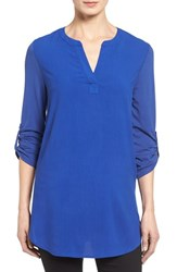 Pleione Women's Split Neck Mixed Media Tunic
