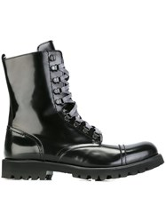Christian Pellizzari Lace Up Biker Boots Black