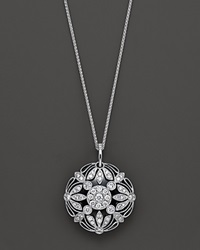 Bloomingdale's Floral Diamond Onyx Pendant Necklace In 14 Kt. White Gold Black White