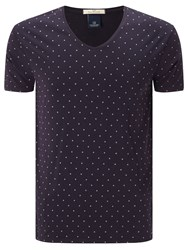 Scotch And Soda Classic V Neck T Shirt Navy Purple