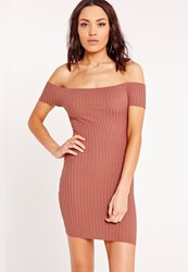 Missguided Bardot Ribbed Bodycon Dress Pink Brown