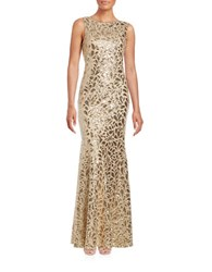 Calvin Klein Sequined Mermaid Gown Gold