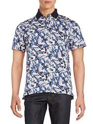 Victorinox Abstract Print Polo Shirt Navy