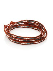 Chan Luu Japanese Seed Bead And Pearl Wrap Bracelet Brown Turquoise