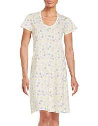 Lord And Taylor Printed V Neck Nightgown Yellow