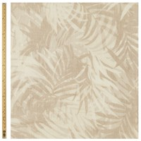 Unbranded Palm Leaf Print Linen Fabric Brown