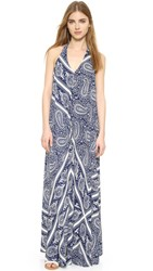 Glamorous Paisley Maxi Dress Blue White Scarf