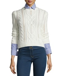 Veronica Beard Surrey Cable Knit Pullover Sweater Cream