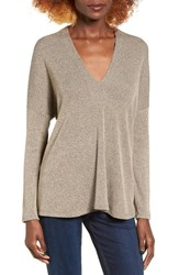 Lush Women's V Neck Sweater Taupe