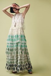 Anthropologie Embroidered Cypress Gown Green Motif