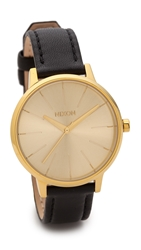 Nixon Kensington Leather Watch Black Gold