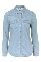 Topshop Tall Moto Western Denim Jacket Blue
