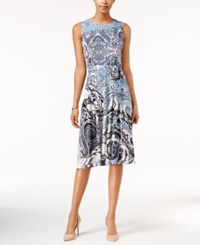 Charter Club Petite Printed Midi Dress Only At Macy's Cc Avery Blue Combo