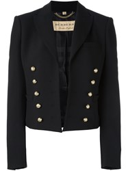Burberry Double Breasted Cropped Fitted Jacket Black