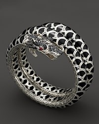 John Hardy Naga Sterling Silver And Black Enamel Lava Double Coil Bracelet With Black Sapphire And African Ruby Eyes