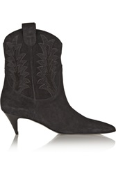 Saint Laurent Cat Appliqued Suede Ankle Boots Black