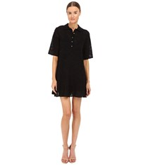 M Missoni Solid Fancy Knit Button Dress Black