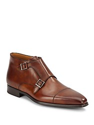 Magnanni Double Monk Strap Leather Boots Tobacco