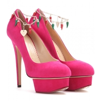 Charlotte Olympia Hot Dolly Suede Pumps Fiesta Pink