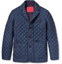Isaia Quilted Wool Cotton And Cashmere Blend Jacket Blue