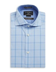 Black Brown Fitted Dress Shirt Blue