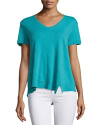 Jethro Slouchy Asymmetric V Neck Top Teal Blue